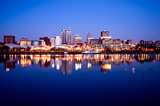 Reflecting Water Posters - Peoria Illinois Skyline at Night Poster by Paul Velgos