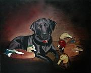 Ducks Paintings - Pepper Lab Dog by Cecilia  Brendel