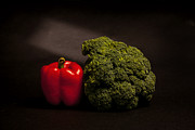 Broccoli Photo Prints - Pepper nd Brocoli Print by Peter Tellone