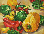 Hot Peppers Painting Originals - Pepper Potpourri by Dianna  Willman