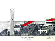 Historic Buildings Drawings Mixed Media - Pepperdine University by Frederic Kohli