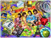 Beatles Mixed Media Framed Prints - Pepperland Framed Print by Mo T