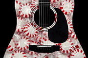 White Sugar Mixed Media Posters - Peppermint Abstract Guitar Poster by Andee Photography