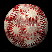 Baseballs Mixed Media Framed Prints - Peppermint Candy Baseball Square Framed Print by Andee Photography