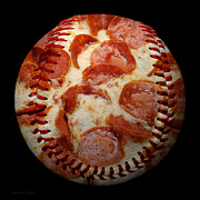 Baseballs Mixed Media Framed Prints - Pepperoni Pizza Baseball Square Framed Print by Andee Photography