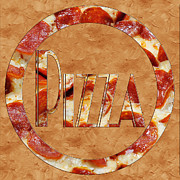 Italian Restaurant Prints - Pepperoni Pizza Typography 3 Print by Andee Photography