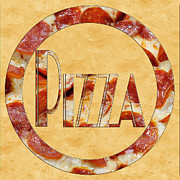 Italian Restaurant Prints - Pepperoni Pizza Typography 4 Print by Andee Photography