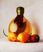 Peppers And Oil Print by Shawna  Rowe