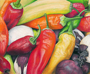 Banana Pastels Prints - Peppers and Onions Print by Adam Johnson