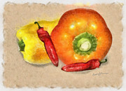 Hot Peppers Digital Art Framed Prints - Peppers Framed Print by Anthony Caruso