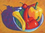 Banana Pastels Prints - Peppers Print by Becky Roesler