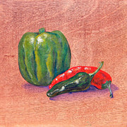 Pepper Paintings - Peppers by Judy Bruning