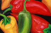 Hot Peppers Framed Prints - Peppers Framed Print by Maria Lena Soto