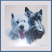 Westie Digital Art - Pepsi and Max by Charmaine Zoe