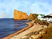 Picturesque Drawings Posters - Perce Rock - Quebec Canada Landscape Poster by Peter Art Print Gallery  - Paintings Photos Posters