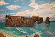 Sea Shore Prints Painting Originals - Perce Rock by Sharon Duguay
