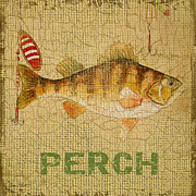 Fishing Flies Paintings - Perch on Burlap by Jean Plout
