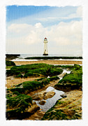 Liverpool Digital Art Prints - Perch Rock Lighthouse Print by Alan Sherlock