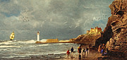 Wooden Ship Digital Art Posters - Perch Rock - New Brighton 1829 Poster by Lianne Schneider