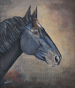 Crazy Painting Posters - Percheron Hanoverian Portrait Poster by Renee Forth Fukumoto