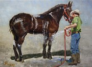 Horse Riders Painting Originals - Percheron Thunder Shower by Jim Horsley