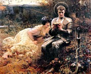 Percival Framed Prints - Percival With The Grail Framed Print by Arthur Hacker
