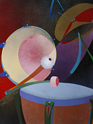 Cymbals Painting Posters - Percuss Poster by Fred Chuang