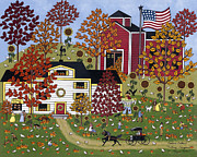 Folk Art Paintings - Percys Pumpkin Patch by Medana Gabbard