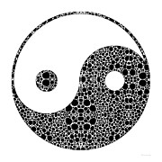Red And Black Prints - Perfect Balance 1 - Yin and Yang Stone Rockd Art by Sharon Cummings Print by Sharon Cummings