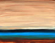 Earth Tone Painting Originals - Perfect Calm - Abstract Earth Tone Landscape Blue by Sharon Cummings