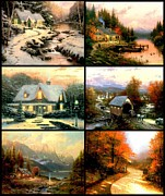 Kinkade Prints - Perfect Day Christmas Bridge Lane Glow Print by Thomas Kinkade