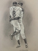 Ny Yankees Drawings Prints - Perfect Game Print by Carl Frankel
