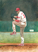 Baseball. Philadelphia Phillies Painting Metal Prints - Perfect Metal Print by Randall Graham