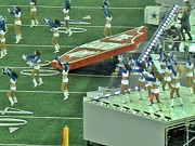 Cowboys Cheerleaders Posters - Performing Dallas Cowboy Cheerleaders and Daughtry Poster by Donna Wilson