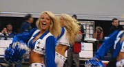 Cowboys Cheerleaders Posters - Performing Dallas Cowboys Cheerleaders Poster by Donna Wilson