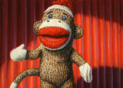 Funny Metal Prints - Performing Sock Monkey Metal Print by James W Johnson