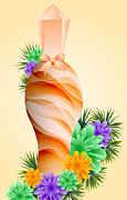 Flowers Scent Digital Art - Perfume Bottle and Flowers by Toots Hallam
