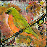 Blendastudio Paintings - Peridot Bird by Blenda Studio