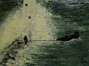 Lighthouse Images Paintings - Peril At The Lighthouse by Joe McClellan