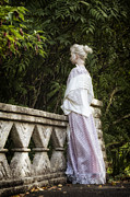 Period Dress Prints - Period Lady On Bridge Print by Joana Kruse