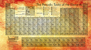 Fiery Digital Art Posters - Periodic Table of the Elements Poster by Nomad Art And  Design