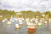 Watercolor! Art Photo Prints - Perkins Cove Lobster Boats Maine Print by Carol Leigh