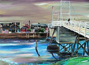 Scott Nelson And Son Painting Framed Prints - Perkins Cove Maine Framed Print by Scott Nelson