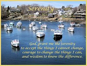 Boats In Harbor Digital Art Posters - Perkins Cove Serenity Poster by Patricia Urato