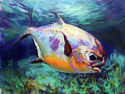 Flyfishing Painting Prints - Permit  Print by Mike Savlen