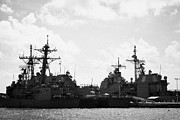 Warships Photos - Perry Class Frigate Uss Underwood Burke Class Destroyer Uss Gravely Navy Warships Mole Pier Key West by Joe Fox