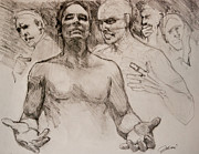 Scripture Drawings - Persecution Sketch by Jani Freimann