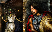 Light And Dark  Digital Art Prints - Perseus and Medusa Print by Alessandro Della Pietra