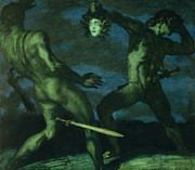 Medusa Metal Prints - Perseus turns Phineus to Stone by Brandishing the Head of Medusa Metal Print by Franz von Stuck