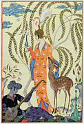 Deer Hat Framed Prints - Persia Framed Print by Georges Barbier